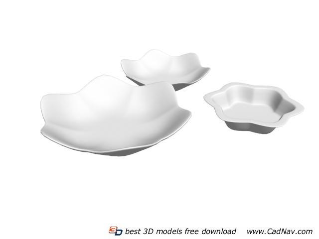 Melamine Salad Plates and bowl 3d rendering