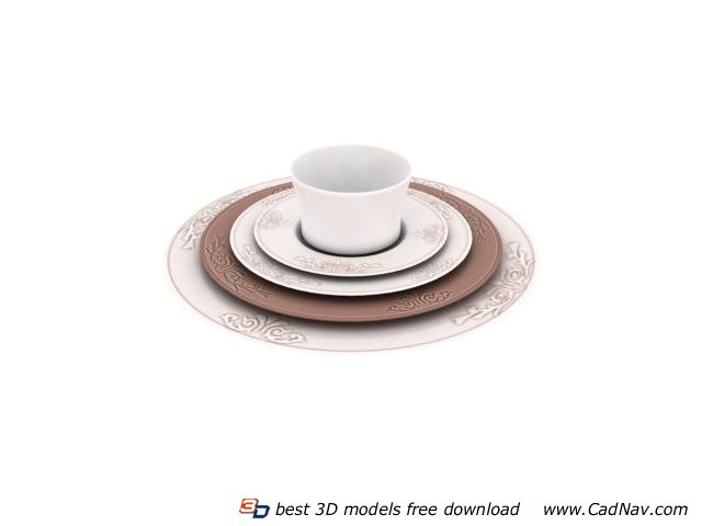 Porcelain Pizza plate set cup and caucer 3d rendering