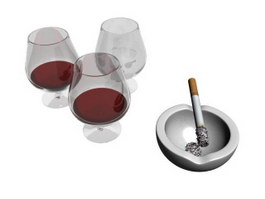 Wine Glasses and Ashtray 3d preview