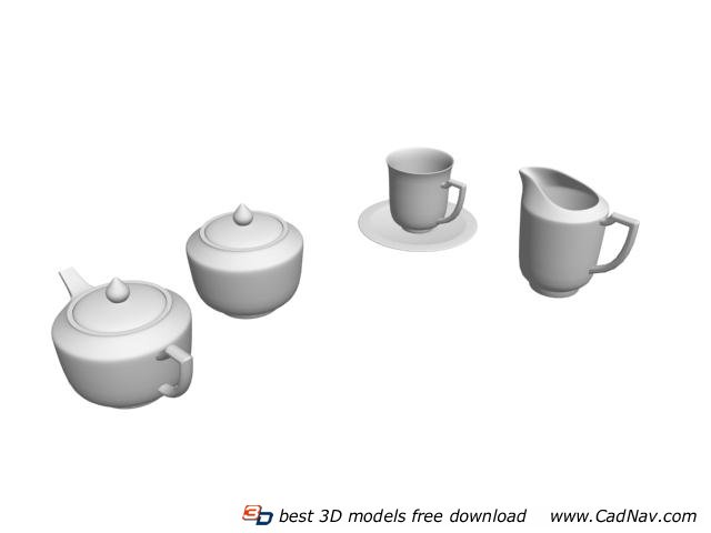 Porcelain Coffee Set Coffee Pot Sugar Pot and Cup 3d rendering