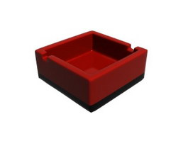 Square plastic melamine ashtray 3d preview