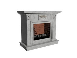Marble Stone Fireplace 3d preview