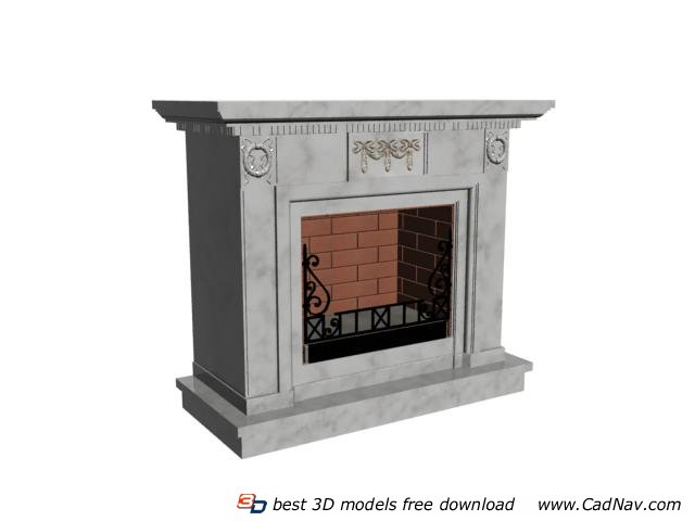 Marble Stone Fireplace 3d rendering
