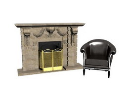 Living Room Smokeless Fireplace and Sofa Chair 3d model preview