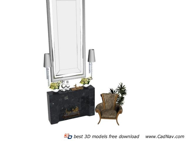 Living Room Sofa Chair and Fireplace with Mirror 3d rendering