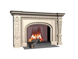 Decorative Wood Burning Marble Fireplace 3d model preview