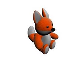 Stuffed animal plush Fox Toy 3d model preview
