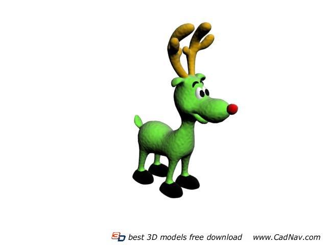 Christmas stuffed deer toy 3d rendering