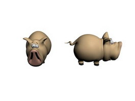 Plastic toy animals pig 3d preview
