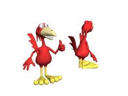 Cartoon toy plush bird 3d preview