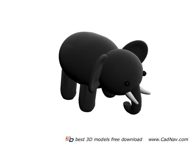 Stuffed elephant toy 3d rendering