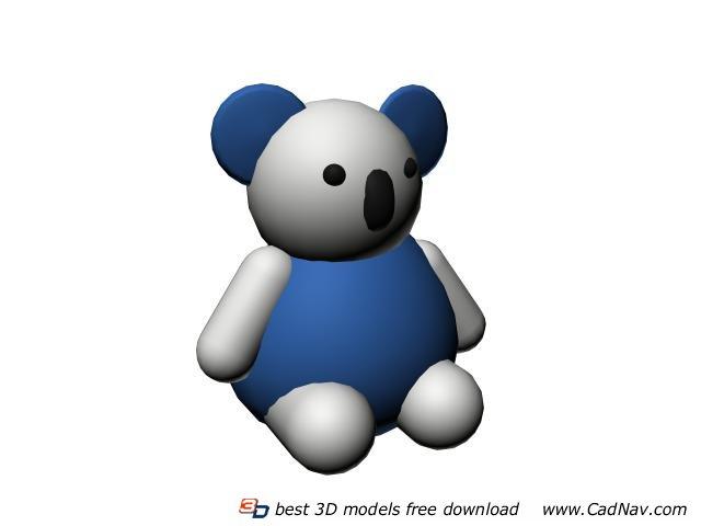 Plastic animal toy cartoon bear 3d rendering