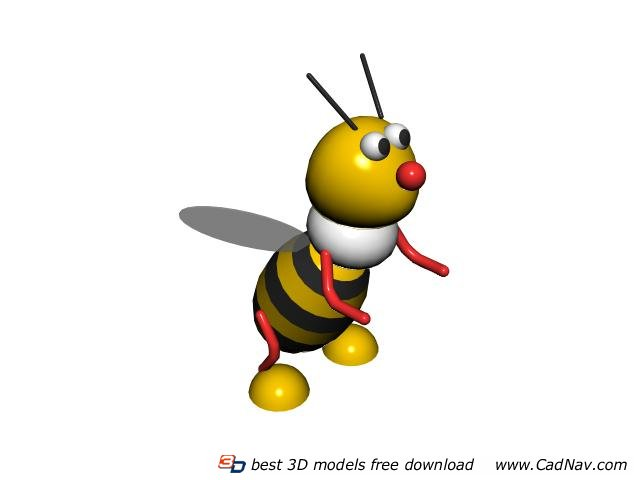 Plastic toys cartoon bee 3d rendering