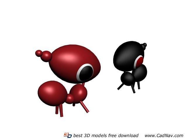 Plastic cartoon ants animal toy 3d rendering