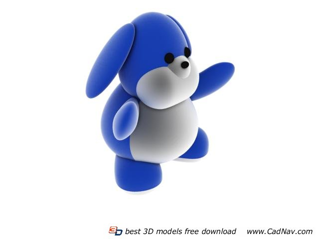 Plush and soft cartoon toy dog 3d rendering
