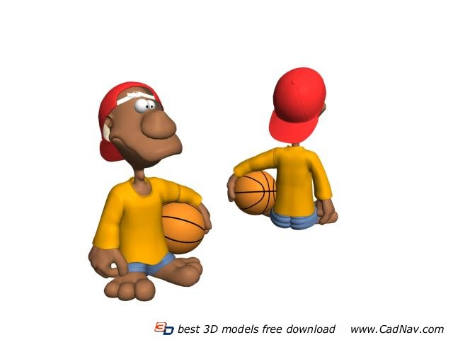 Basketball Boy Action Figure 3d rendering