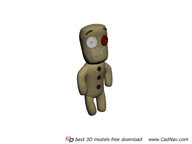 Cloth Toy Plush Button Toy Doll 3d rendering