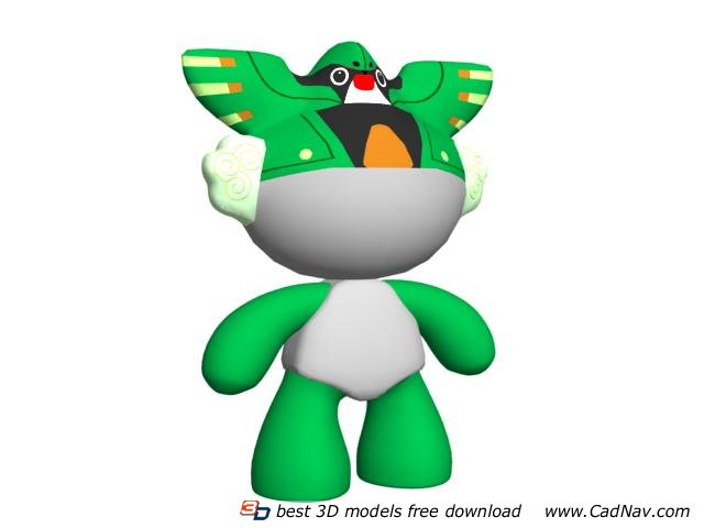 Chinese fuwa plush toys 3d rendering