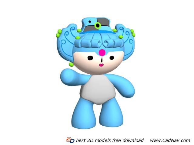 Stuffed soft toy Olympic mascot 3d rendering