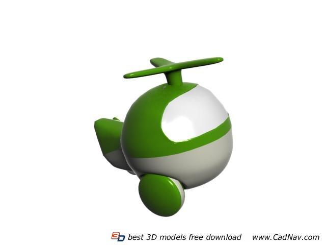 Plastic cartoon helicopter 3d rendering