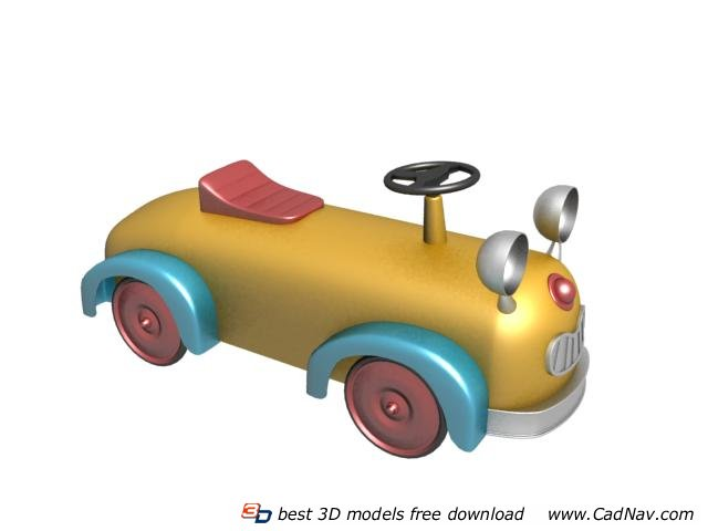 Kids electronic toy car 3d rendering