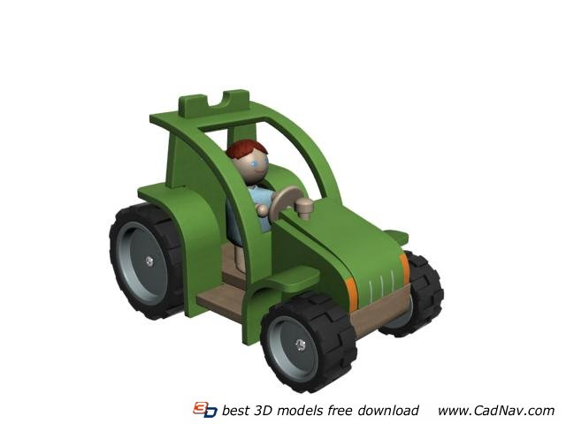 Plastic toy trucks 3d rendering