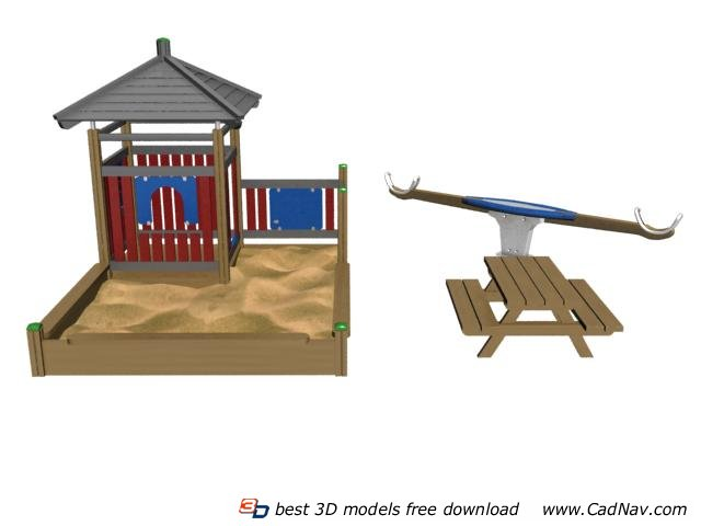Sand place outdoor playground 3d rendering