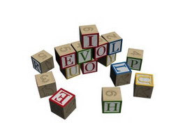 Children learning toy letter brick 3d preview