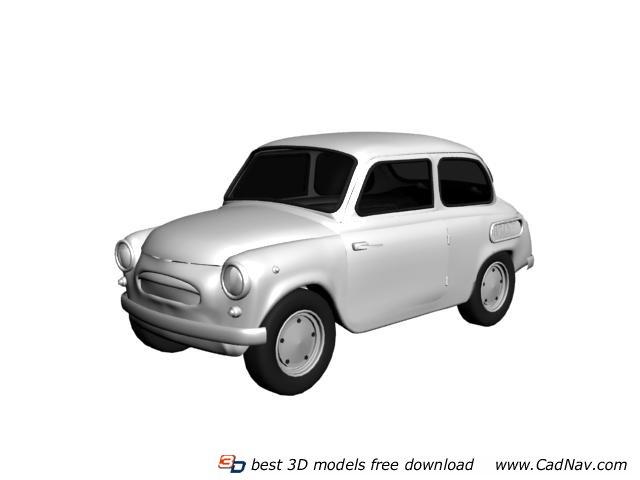 Plastic mini car toy 3d rendering