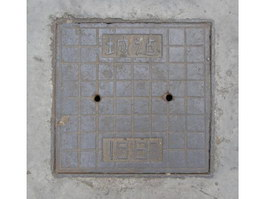 Casting iron sewer and concrete texture