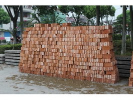Neatly placed fire clay brick texture
