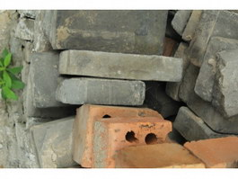 Grey brick and fire clay brick texture