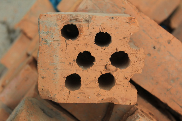 Fired hollow brick texture