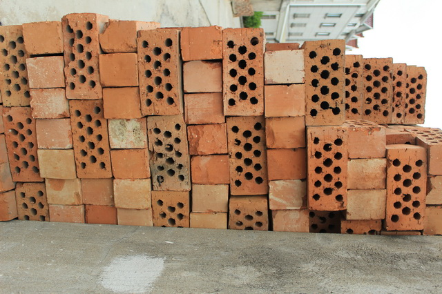 Hollow clay brick texture