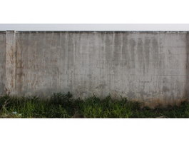 Concrete block wall and weeds texture