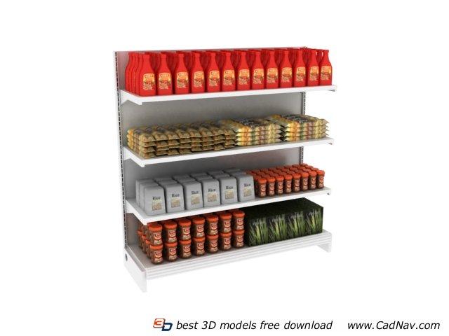 Supermarket Food Storage Shelf 3d rendering