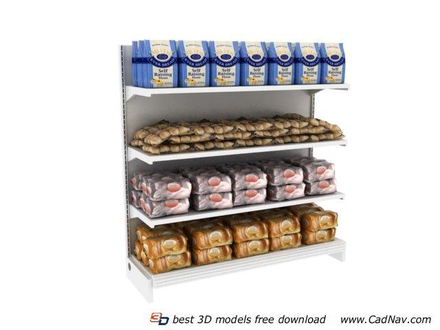 Supermarket Shelf and Breads 3d rendering
