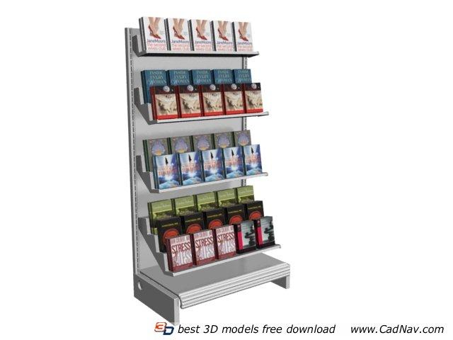 Bookstore floor standing display rack 3d rendering