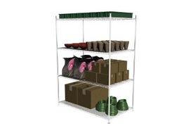 Supermarket Metal Display Shelf 3d model preview