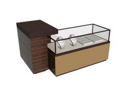 Jewelry Display Cabinet and Reception Desk 3d model preview