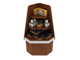 Corner Wooden Display Cabinet 3d preview