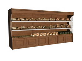 Supermarket bread display shelf 3d preview