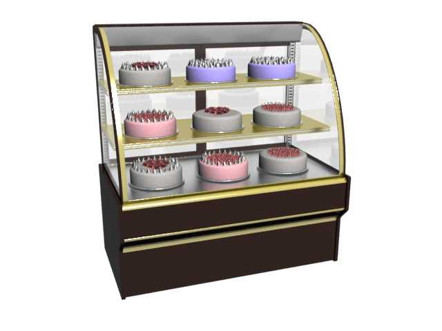 Counter Top Cake Showcase 3d rendering