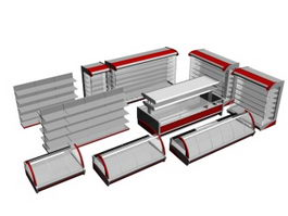 Supermarket Display shelves and display cabinet 3d preview