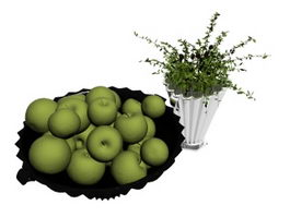 A plate of apple and vase 3d preview