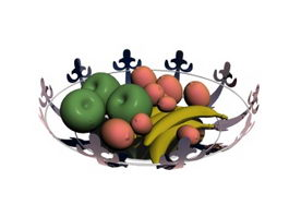 Metal Fruit Tray With Fruits 3d preview