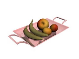 Fruits and Ceramic Fruit Tray 3d model preview