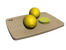 Lemon and Cutting Board 3d model preview