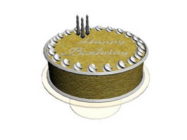 Fancy Birthday Cake 3d model preview