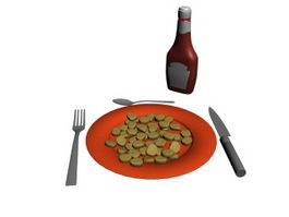 Ketchup Biscuit Cracker and Dinnerware 3d preview